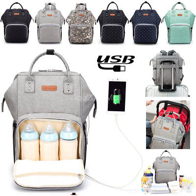 Baby Diaper Nappy Mummy Changing Bag USB Port Backpack Waterproof Multifunction