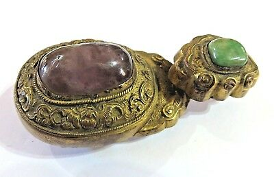 Antique 19Th Century Part Chinese Buckle Set With Stones