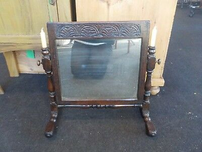 Antique Carved Turned Oak Pegged Dressing Table Swing Mirror With Candle Holder