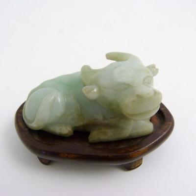 Chinese Pale Celadon Jade Carving Of A Water Buffalo