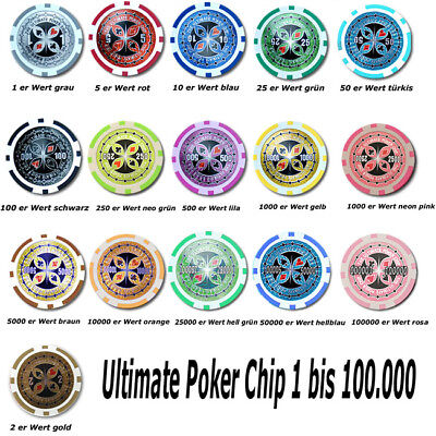 Ultimate Poker Chip Laser Werte 1, 2, 5, 10, 25, 50,100,250, 500, 1000 ....Neu