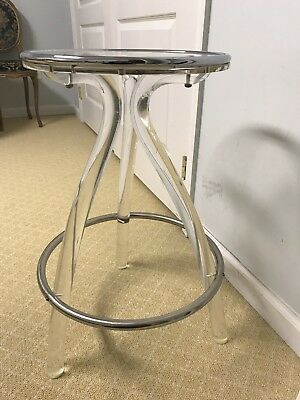 Lucite, Chrome Metal And Glass Stool/side Table
