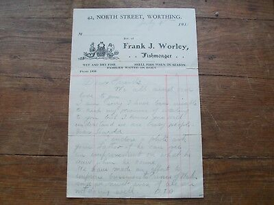 1931, Letter: Frank J.worley. Fishmonger. North Street, Worthing. (Sussex).