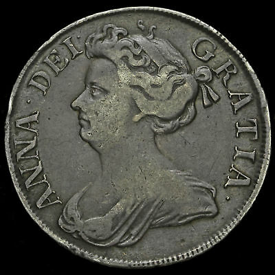 1712 Queen Anne Early Milled Silver Half Crown
