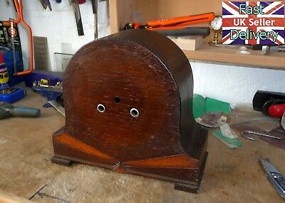 Vintage Empty Mantle Clock Case. V Good Cond. Back Door Working. Two Tone Oak.