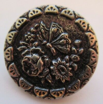 Spectacular Antique~ Vtg Tinted Metal Picture BUTTON Butterfly w/ Flowers (N4)