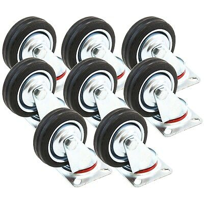 "8 Heavy Duty Caster Set 3"" Wheels 360 Degree Swivel Casters Non Skid No Mark"