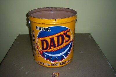 Vintage-Dad's Root Beer Advertising Metal Can With Handle-Includes Matches.
