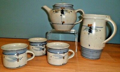 Vellow Somerset Pottery by David Winkley - Teapot, Jug and 3 Mugs