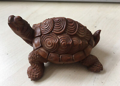 Rare japan Old Boxwood Hand Carved Turtle Statue Netsuke Collectable