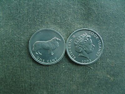 NU) Cook Island 1 Cent 2003 Tier Hund Collie Sheltie Hütte- Großbritannien UK GB