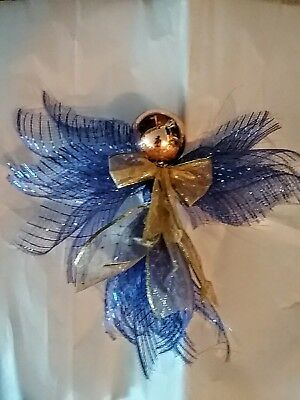 Angel Tree Topper Or Window Deco 10 In By 9 In New Listing  Royal Blue Mesh Ribb