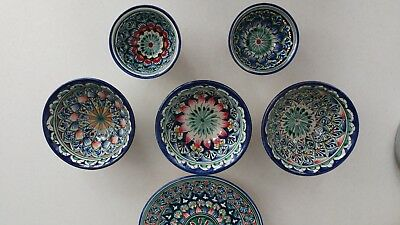 hand painted bowls set (5 pieces) and plate, blue-green color, newly made