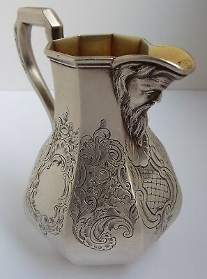 Stunning Rare English Antique Gothic Victorian 1852 Sterling Silver Cream Jug