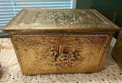 Vintage Raised Design Chest Brass Gold Colored Trunk Storage Coffee Table Accent
