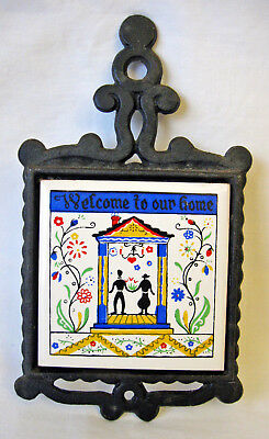 """WELCOME TO OUR HOME Vintage 3"""" Tile Trivet in Cast Iron Frame Made in Japan"""