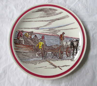 "Vernon Kilns Bits of Old Northwest UNLOADING THE NETS 8.5"" Plate (c. 1940s)"