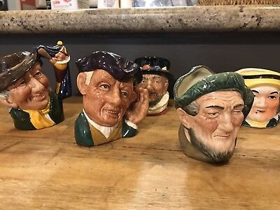 Lot Of 4 Royal Doulton Character Mini Jugs + One Unmarked
