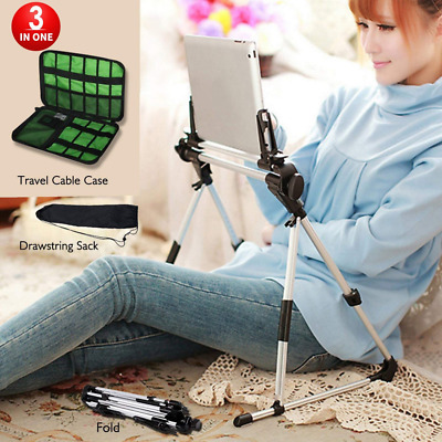 Tablet Stand Adjustable Portable Phone Holder Stand  Lazy Man Stand w/ Cable Bag