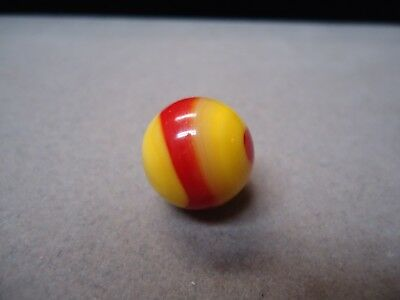 Vintage Akro Agate Yellow & Red Corkscrew Marble  5/8  Mint -