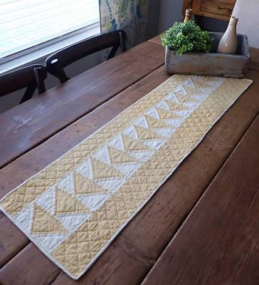 Primitive Antique Mustard Yellow & White Flying Geese Table Quilt RUNNER 40x11