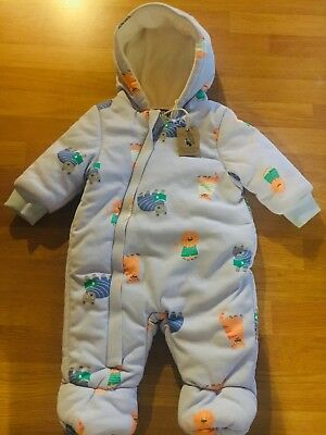 3b02db83a JOULES BABY BOY Snowsuit Pramsuit 0-3 Months New With Tags Blue Cats ...