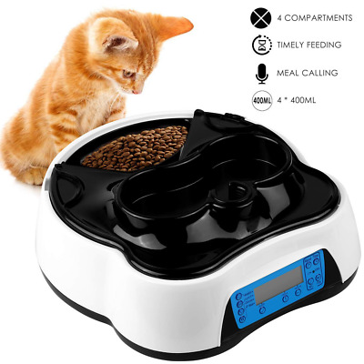 Automatic Cat Dog Feeder 2 in 1 Pet Food Feeder Dispenser Voice Recording Timer