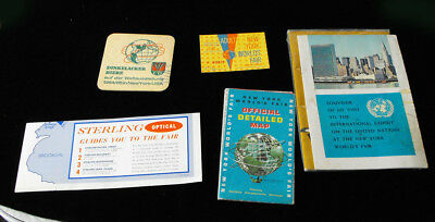 1964 New York World's Fair Lot story of sewing ticket coaster map +