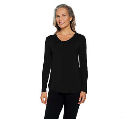 Cuddl Duds Softwear Stretch Long Sleeve V-Neck Top Color BLACK Size Small