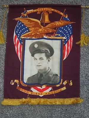 WWII US Army Sweetheart Home Front Photo Banner Service Flag