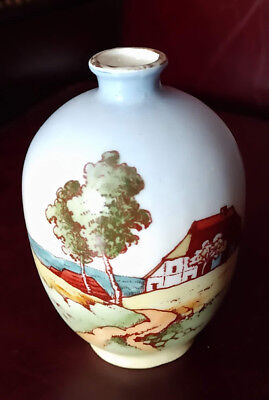 Antique 1920s Arts & Crafts Hand Painted Vase Signed Austria Rare Cottage Scene