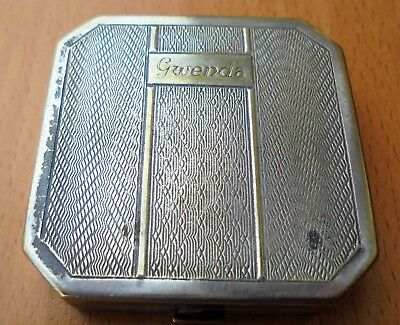 ANTIQUE Small POWDER COMPACT `Gwenda'  ENGINE TURNED Octagonal