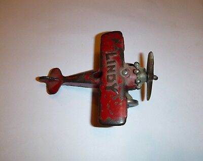 Antique Vintage Cast Iron Hubley Toy LINDY Red Plane Aircraft Airplane D8/1720
