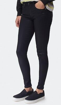 Nwt $228 True Religion Halle Mid Rise Super Skinny Jeans Pants Coated Black 26