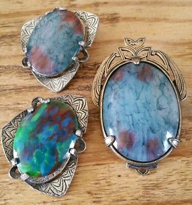 Lot of Three Fabulous Vintage Celtic Agate Glass Brooches  Signed Miracle C 1960