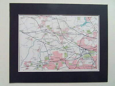 """LONDON HARROW WEMBLEY WILLESDEN SOUTHALL EALING OLD MAP DATED 1929 10x8"""" MOUNT"""