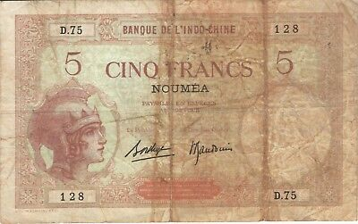 1926 5 Francs Noumea New Caledonia Currency Banknote Note Money Bank Bill Cash