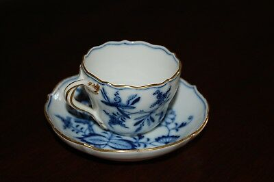 Antique Meissen Porcelain Teacup and Saucer Set, 1815+ Marking, gold guilded