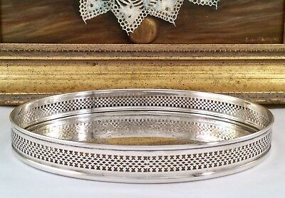 Fine Quality CAVALIER Chased Silver Plated Oval Form Cocktail Gallery Tray C1930