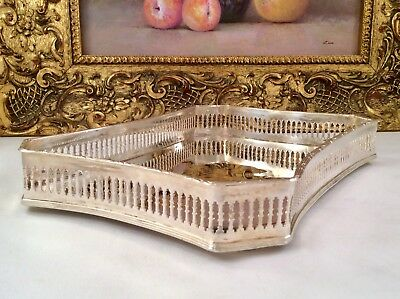Antique Art Nouveau Mirror Finish Curved Silver Plated Cocktail Gallery Tray