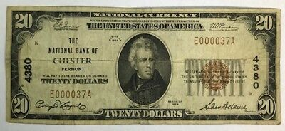 1929 $20 The Nb Of Chester, Vt National Currency Ch. #4380 Super Rare!