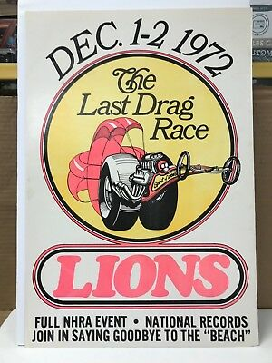 "1972 Lions ""the Last Drag Race"" Poster 21 X 14.5 Inches"