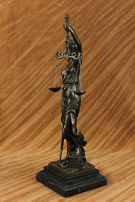 "Bronze Scale Of Justice Blind Justice Sculpture Statue Classical Figurine 17"" Nr"