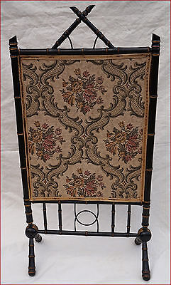 Victorian Aesthetic Fire Screen Gilt Black Faux Bamboo Wood Japan Style 19th C