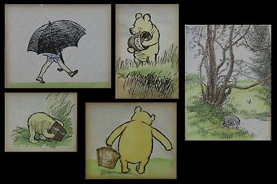 5 Antique Winnie the Pooh hand Colored EH Shepard  Bookplate Prints, Gilt Frames