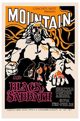 RocK; Black Sabbath & Mountain at Seattle Center Arena Concert Poster 1971 12x18