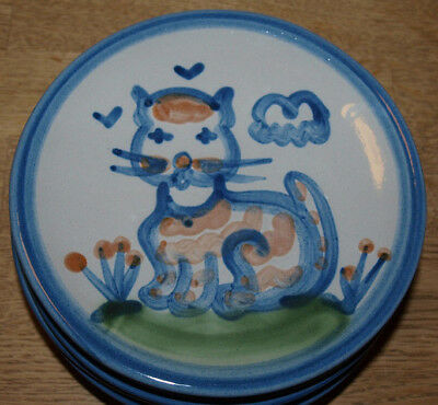 """M A Hadley Pottery - Country Scene Blue - Bread Plate 6"""" - Cat"""