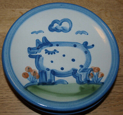 """M A Hadley Pottery - Country Scene Blue - Bread Plate 6"""" - Pig"""