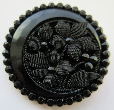 Magnificent LARGE Antique~ Vtg Victorian Black GLASS BUTTON MOON & Flowers (O18)
