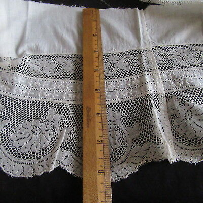 Antique Valenciennes INSERTION Lace Flounce WIDE SCALLOP Trim &Embroidery DOLLS